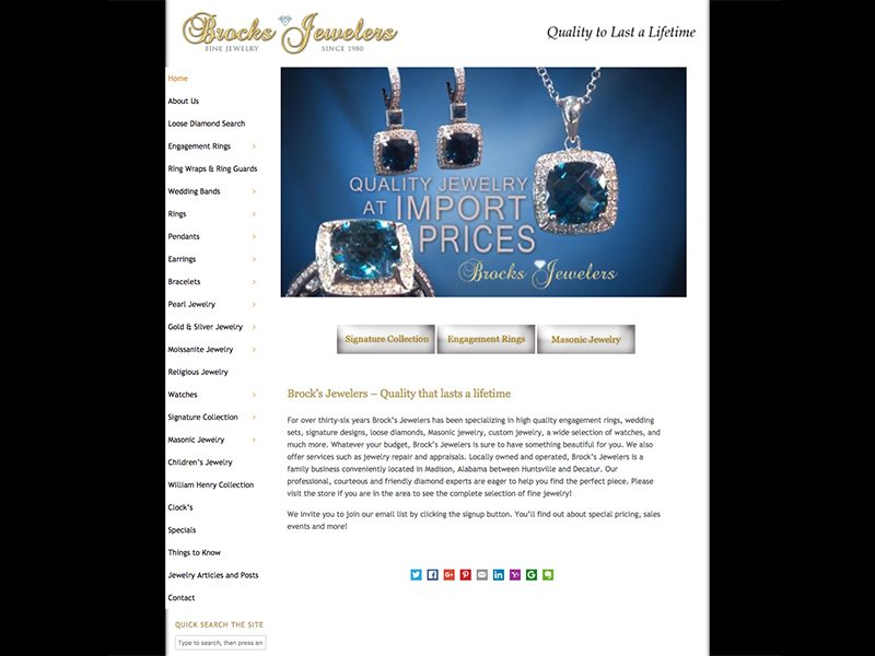Brocks Jewelers Website